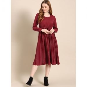 DressBerry Women Solid Maroon A-Line Dress