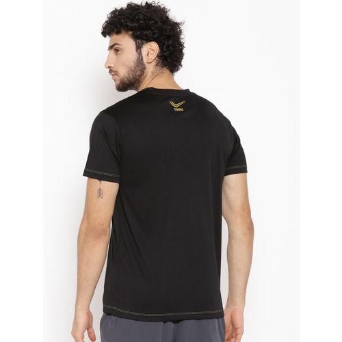 Yuuki Men Black Printed Slim Fit Round Neck T-shirt