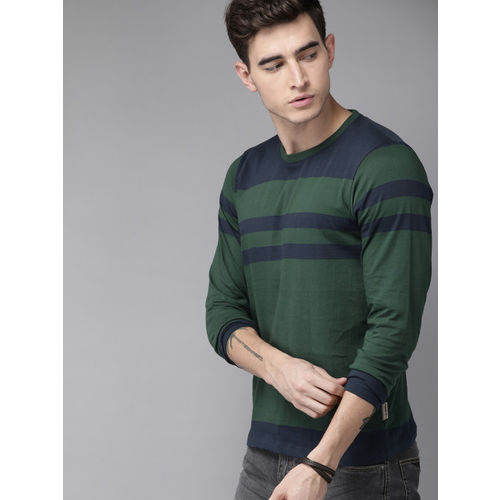 Roadster Men Green & Navy Blue Striped Round Neck T-shirt