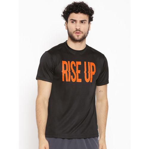 Yuuki Men Black & Orange Printed Round Neck T-shirt