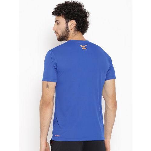 Yuuki Men Blue & Grey Printed Slim Fit Round Neck T-shirt