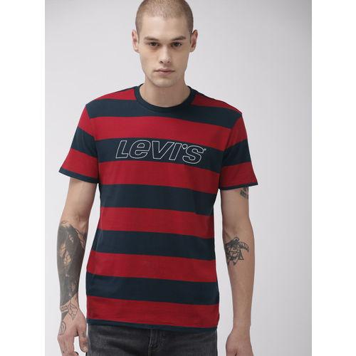 Levis Men Red & Navy Blue Striped Round Neck T-shirt