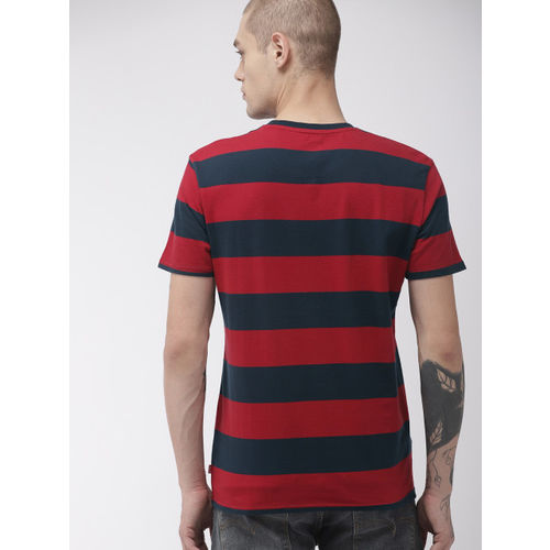 Levis Men Red & Navy Blue Striped Round Neck T-shirt
