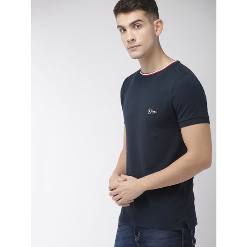 Tommy Hilfiger Men Navy Blue Solid Round Neck T-shirt
