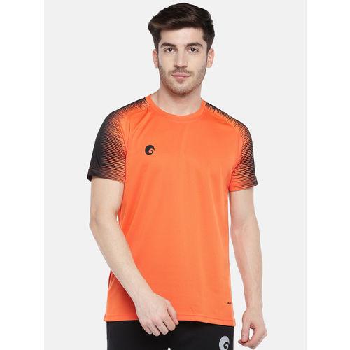 Omtex Men Orange & Black Solid Round Neck T-shirt