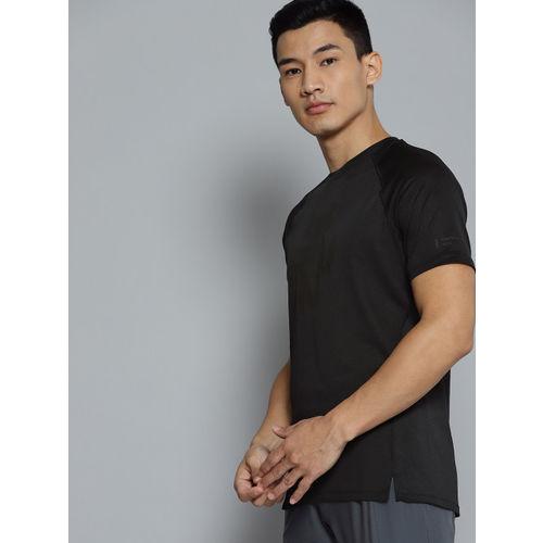 UNDER ARMOUR Men Black Qualifier Glare Self Design Running T-Shirt