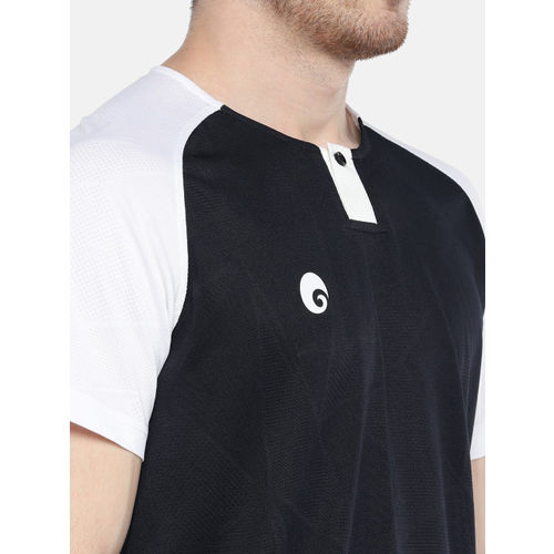 Omtex Men Navy Blue Solid Round Neck T-shirt