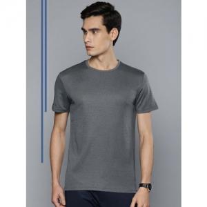 Louis Philippe Ath.Work Men Grey Melange Solid Round Neck Slim Fit T-shirt