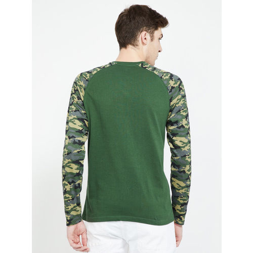 Fame Forever by Lifestyle Men Green Solid Round Neck T-shirt