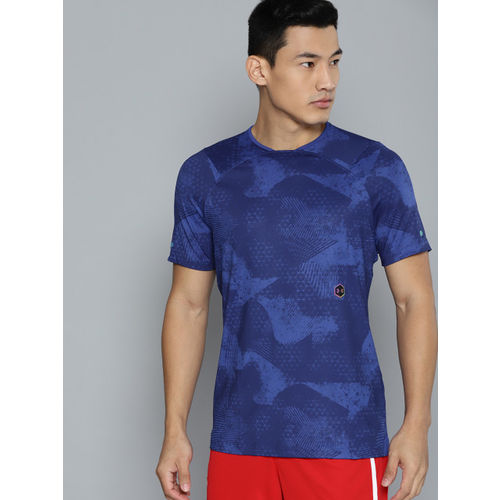 UNDER ARMOUR Men Blue HeatGear Rush Fitted Printed T-Shirt