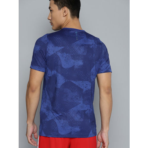 UNDER ARMOUR Men Blue HeatGear Rush Fitted Printed T-Shirt