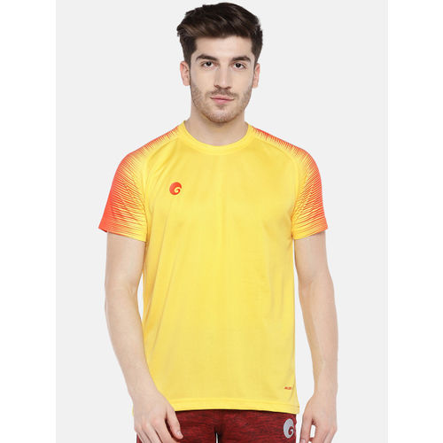 Omtex Men Yellow & Orange Solid Round Neck T-shirt