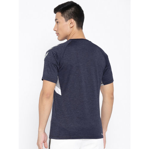 hummel Men Navy Blue Solid Round Neck T-shirt