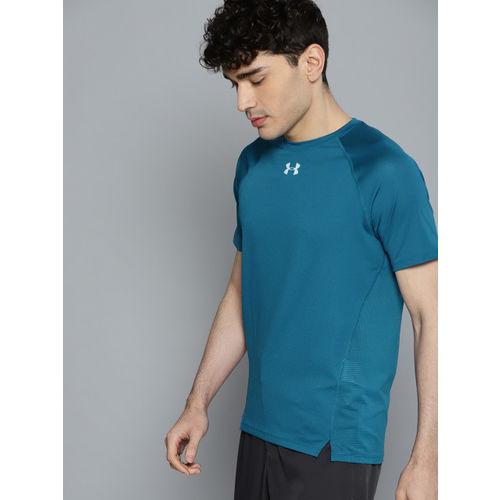 UNDER ARMOUR Men Teal Blue Qualifier Self Design Running T-Shirt
