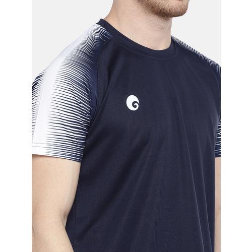 Omtex Men Navy Blue & White Solid Round Neck T-shirt