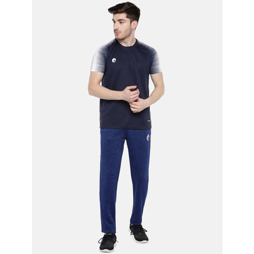 Omtex Men Navy Blue & White Solid Round Neck T-shirt