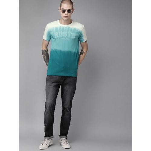 Roadster Men Blue & White Ombre Colourblocked Round Neck T-shirt