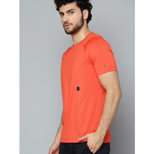 UNDER ARMOUR Men Neon Orange HeatGear Rush Fitted Short Sleeve T-shirt
