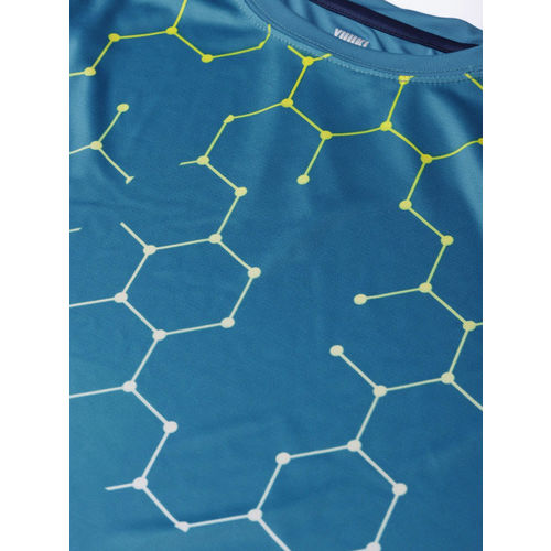 Yuuki Men Blue & Yellow Printed Slim Fit T-shirt
