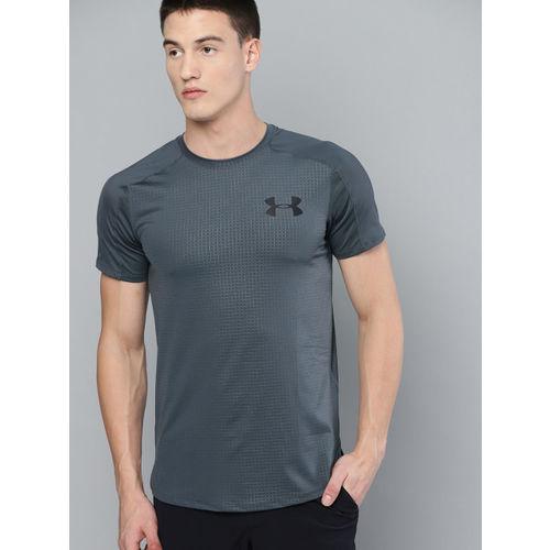 UNDER ARMOUR Men Charcoal Grey MK1 Short Sleeve Emboss T-shirt