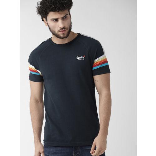 Superdry Men Navy Blue Solid Round Neck T-shirt