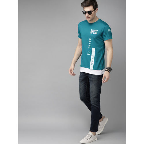 Roadster Men Turquoise Blue Printed Round Neck T-shirt