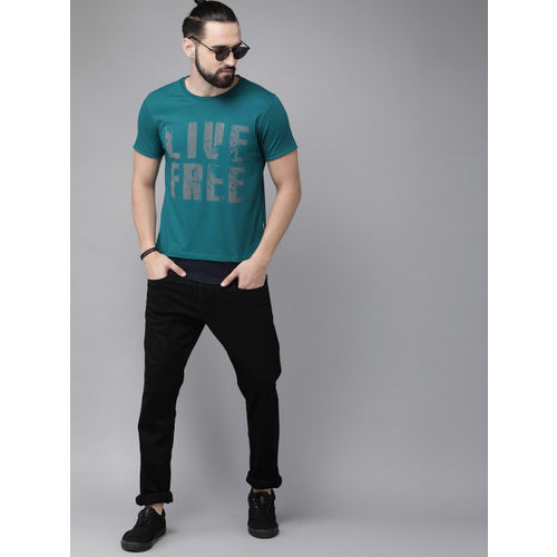Roadster Men Teal Blue Printed Round Neck T-shirt