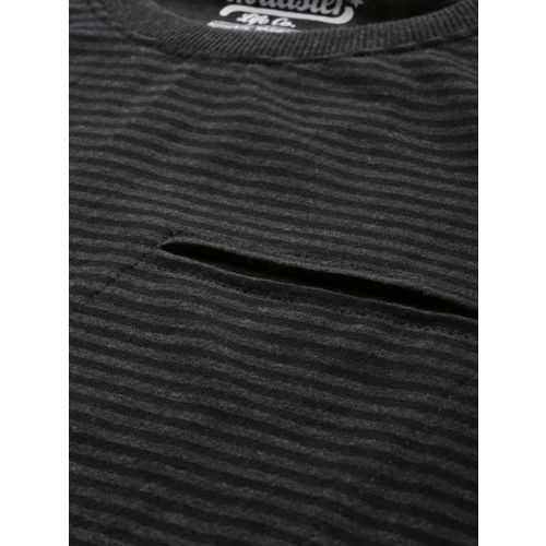 Roadster Men Charcoal Grey & Navy Blue Striped Round Neck T-shirt