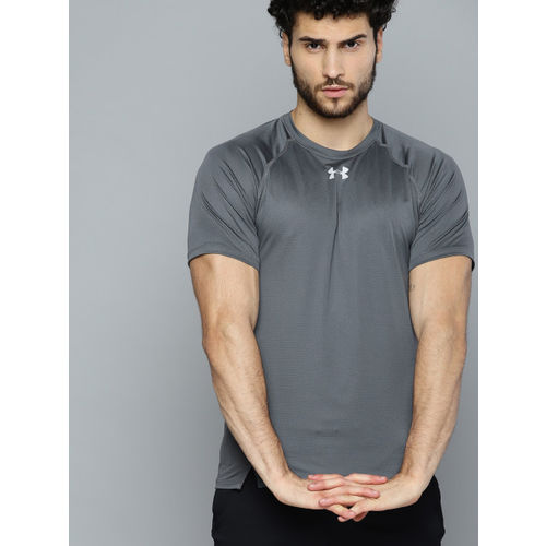 UNDER ARMOUR Men Charcoal Grey Qualifier HexDelta Self-Design T-Shirt