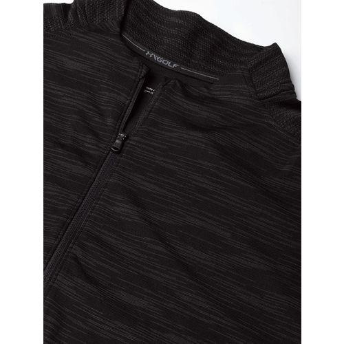 UNDER ARMOUR Men Black & Olive Green Tour Tips Seamless Zip Self Design Golf T-Shirt