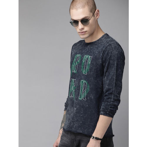 Roadster Men Navy Blue Dyed Round Neck T-shirt