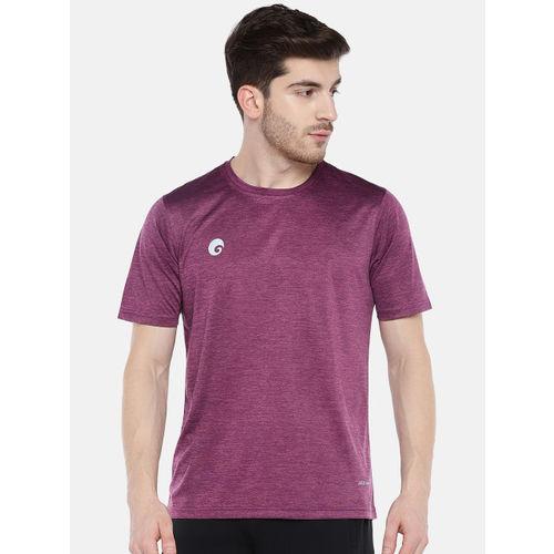 Omtex Men Magenta Solid Round Neck T-shirt