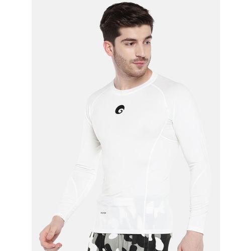 Omtex Men White Solid Round Neck T-shirt