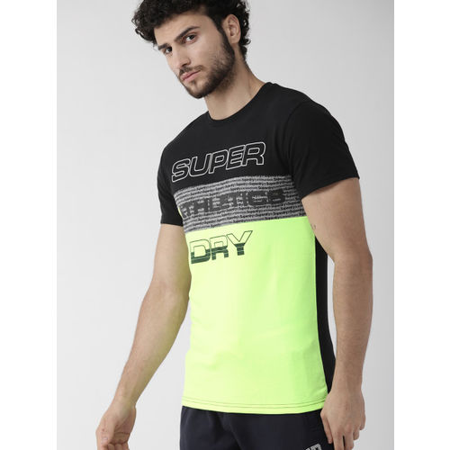 Superdry Men Fluorescent Green & Black Colourblocked Round Neck T-shirt