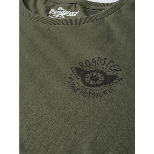 Roadster Men Olive Green Solid Round Neck T-shirt