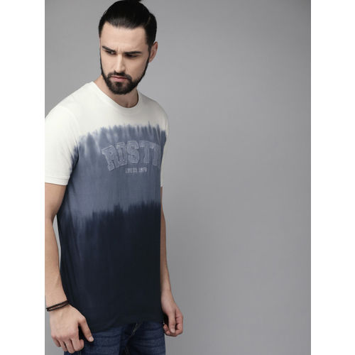 Roadster Men Navy Blue & Off-White Ombre Colourblocked Round Neck T-shirt