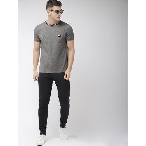 Tommy Hilfiger Men Grey Melange Solid Round Neck T-shirt