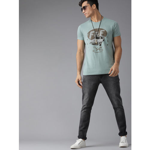 Roadster Men Green & Charcoal Grey Printed Round Neck T-shirt