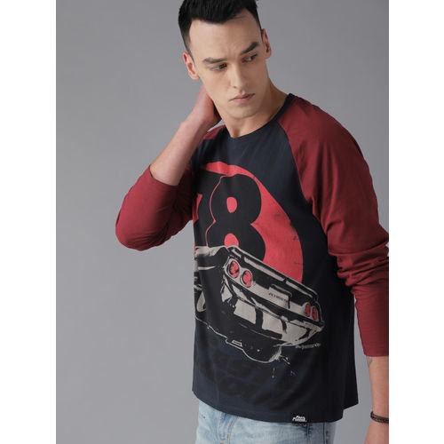 Roadster Men Navy Blue & Black Printed Round Neck T-shirt