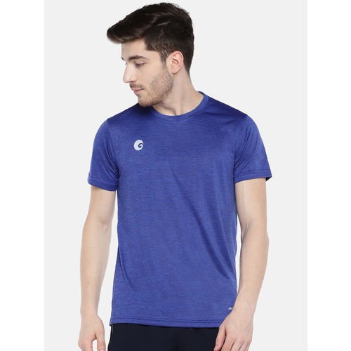 Omtex Men Blue Solid Round Neck T-shirt