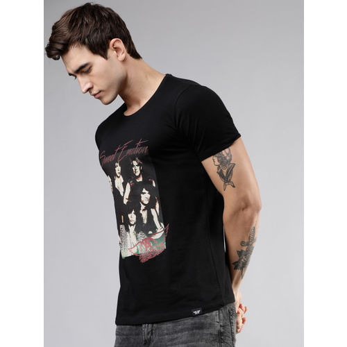 LOCOMOTIVE Men Black Printed Round Neck T-shirt