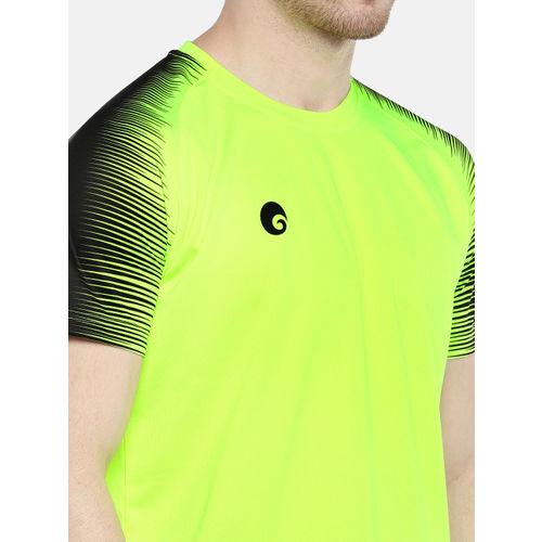 Omtex Men Fluorescent Green & Black Solid Round Neck T-shirt