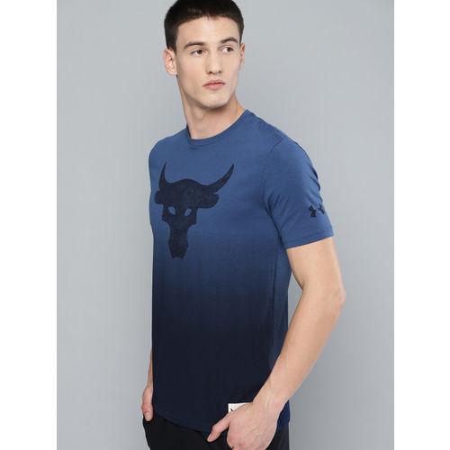 UNDER ARMOUR Men Blue Project Rock Bull Graphic Printed T-shirt
