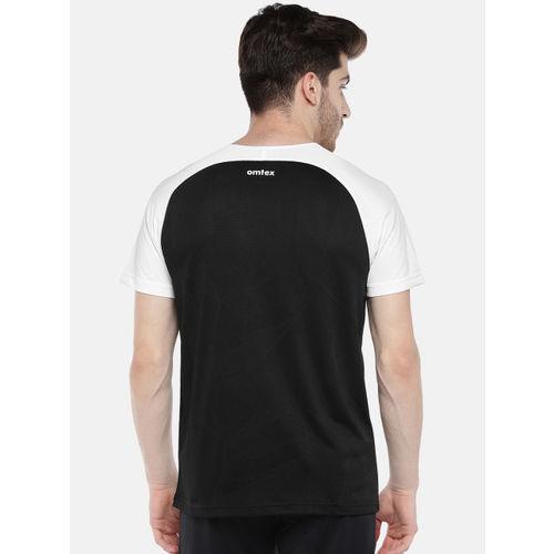 Omtex Men Black & White Solid Round Neck T-shirt
