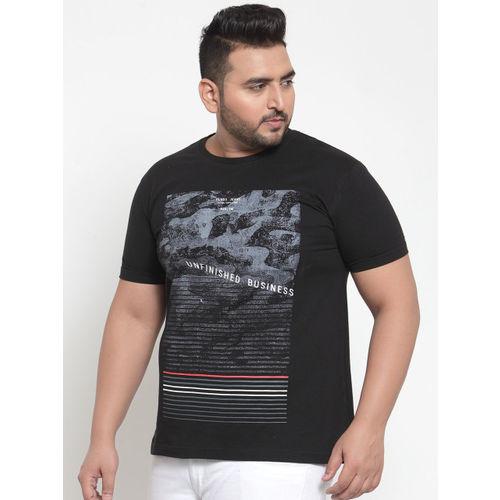 plusS Men Black Printed Round Neck T-shirt