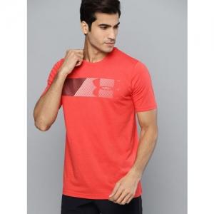 UNDER ARMOUR Men Coral Orange Fast Left Chest 2.0 Graphic Printed T-Shirt