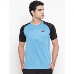 Lotto Men Blue Colourblocked Round Neck T-shirt