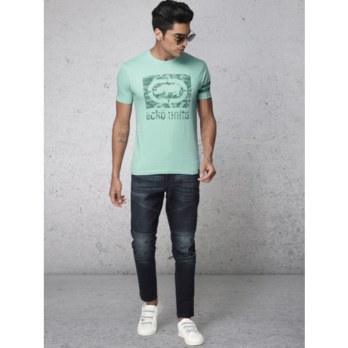 Ecko Unltd Men Turquoise Blue Printed Round Neck T-shirt