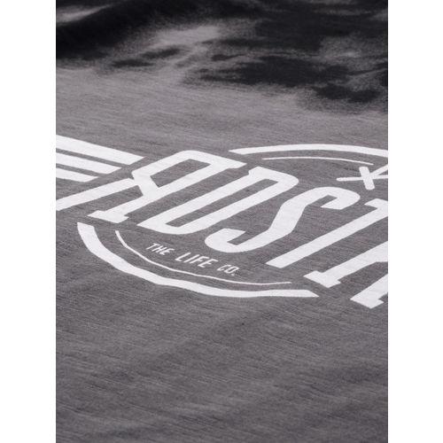 Roadster Men Grey & Black Printed Round Neck T-shirt