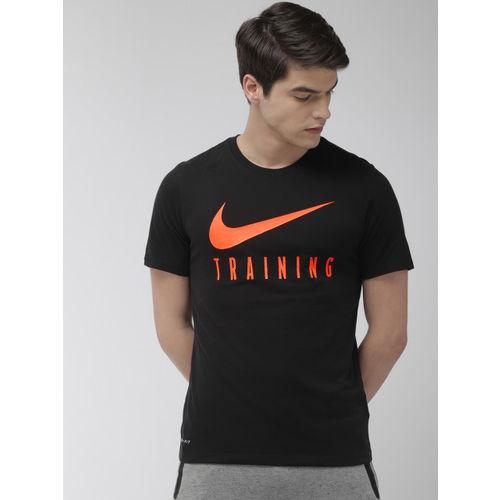 Nike Men Black Printed Dri-FIT Round Neck Standard Fit Training T-shirt